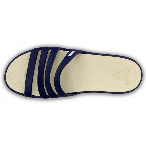 Crocs Rhonda Wedge Damen Sandalen dunkelblau (nautical navy/stucco) 4