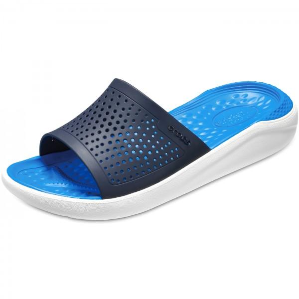 Crocs Literide Slide Unisex Soft Pantoletten dunkelblau/wei