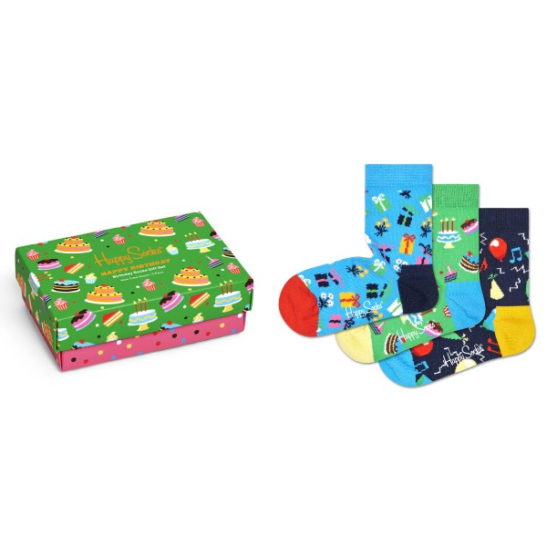 Happy Socks Happy Birthday Kids Gift Box 3-Pack Kinder Geschenk-Socken mehrfarbig