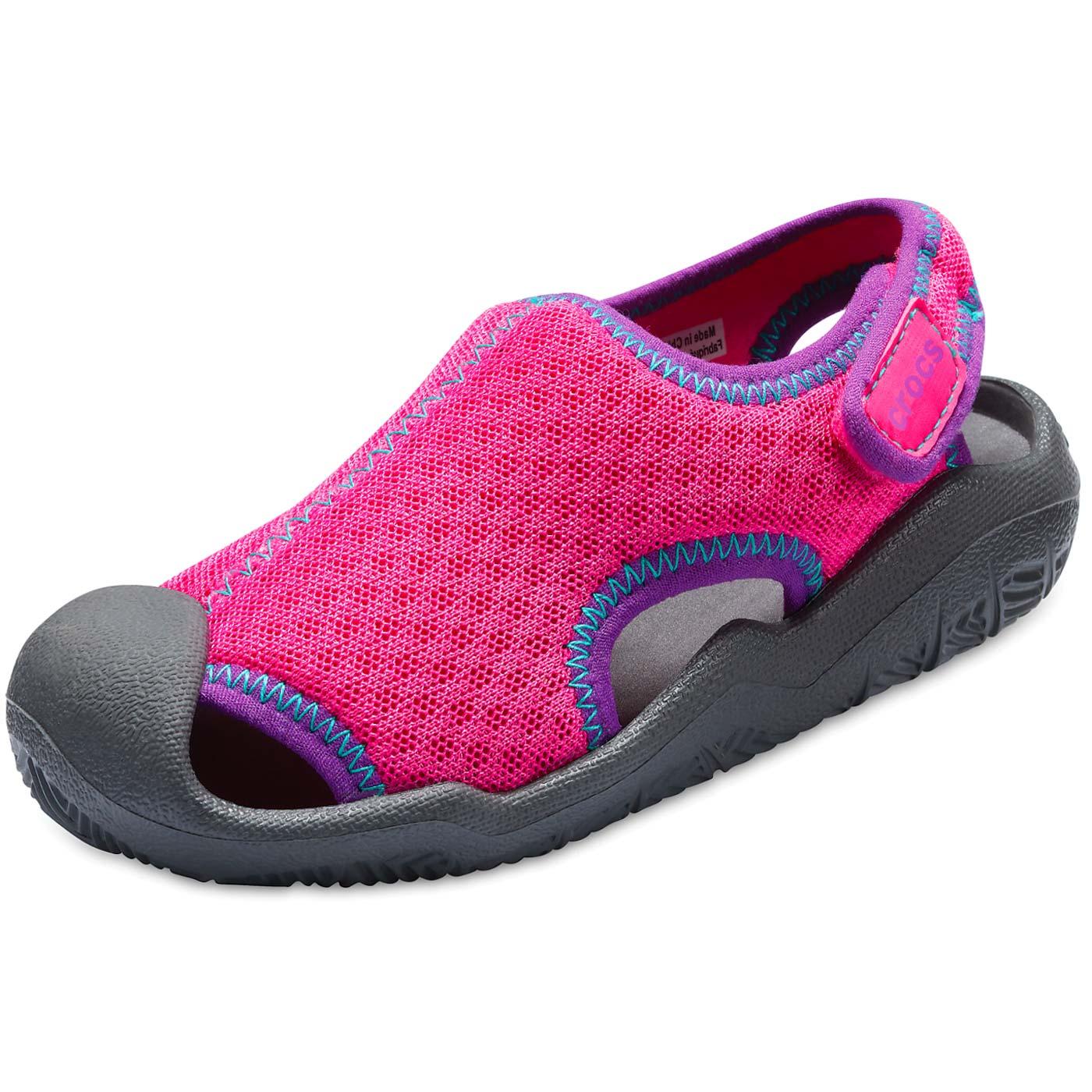 Crocs Swiftwater Sandal Kids Girl Aqua Shoes neon magenta/slate grey    Sandals   Kids   Flux Online