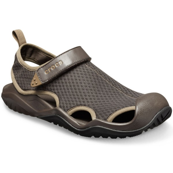 Crocs Swiftwater Mesh Deck Sandal Herren Aqua-Schuhe Braun (Espresso)