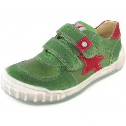 Naturino Alden Kinder Leder-Sneaker grün/rot (verde/rosso)