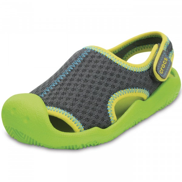 competitive price c8aa9 d2972 Crocs Swiftwater Sandal Kids Kinder Aqua-Schuhe graphite/volt green