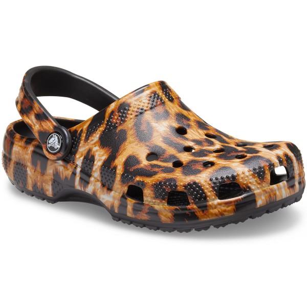 Crocs Classic Animal Print Unisex Clogs Braun/Leopard