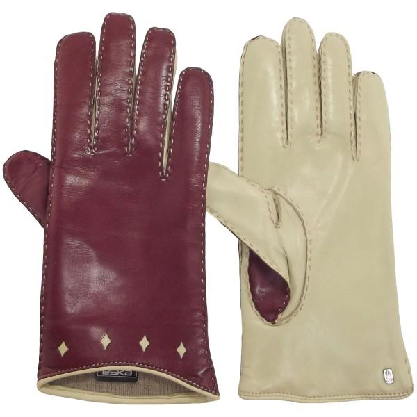 Eska Tamira Damen Leder-Handschuhe weinrot/beige (wine/sand)