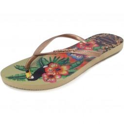 Havaianas Slim Tropical Damen Zehenstegsandale mehrfarbig (sand grey/rose go)