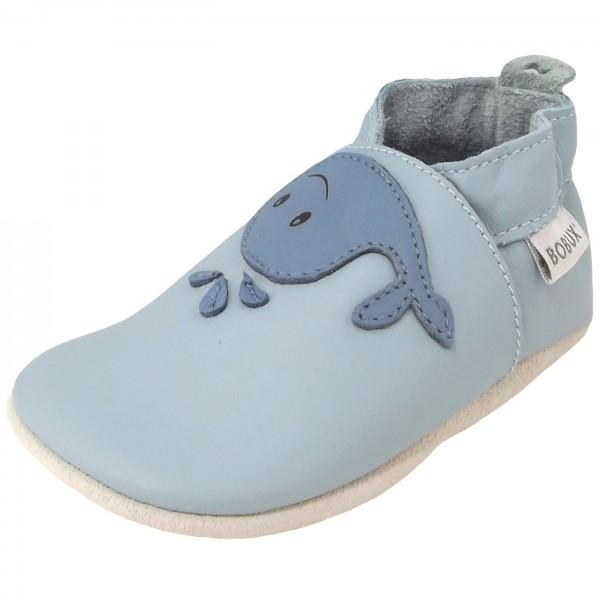 Bobux Whale Baby Crawling Shoes blue haze