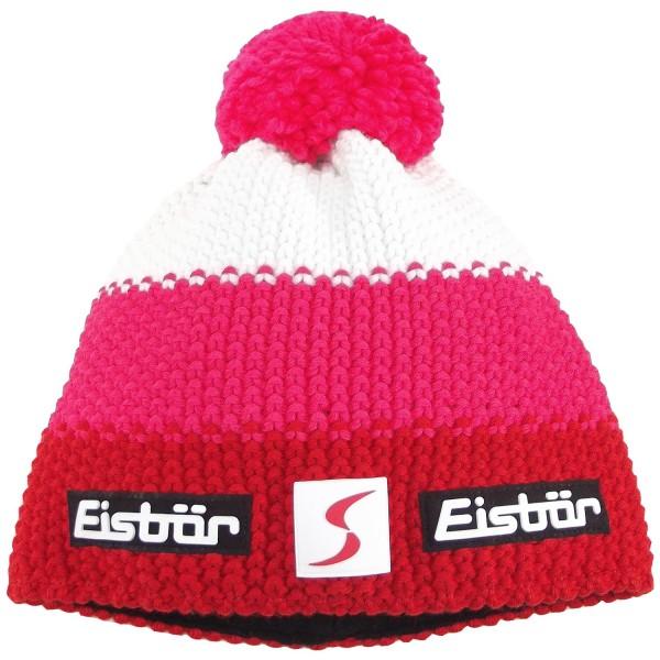 Eisbär Star Pompon SP Damen Winter-Strickmütze rot/pink/weiß