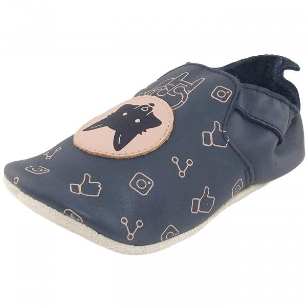 Bobux Fox Loafer Print Baby Krabbelschuhe navy/beige
