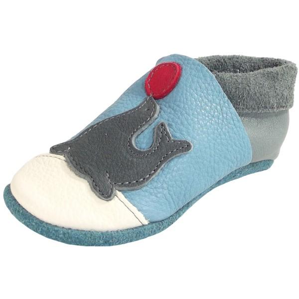 Pololo Seehund Kleinkinder Krabbelschuhe hellblau/grau (babyblue graphit)