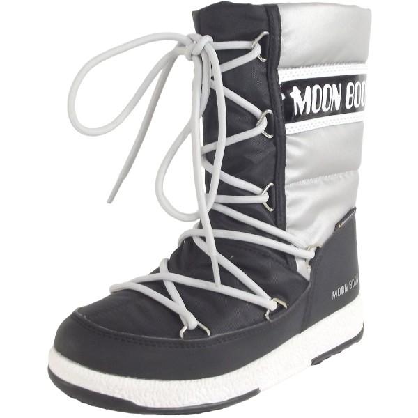 Moon Boot Jr Girl Quilted WP Mädchen Winterstiefel schwarz/silber (black/silver)