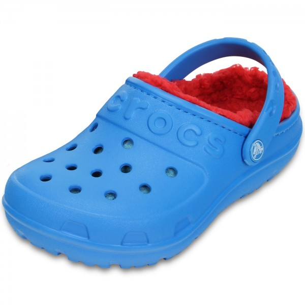 Crocs Hilo Lined Kids Kinder Clogs blau/rot (ocean/flame)