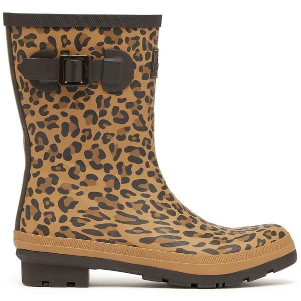 Tom Joule Molly Welly Damen Mittelhohe Gummistiefel Gelbbrauner Leopard