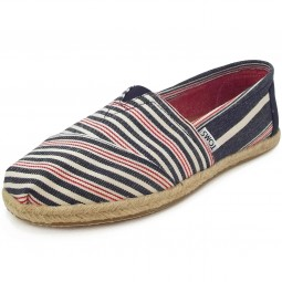 Toms Classic Stripe Rope Wm Damen Espadrilles dunkelblau/rot (navy/red woven)