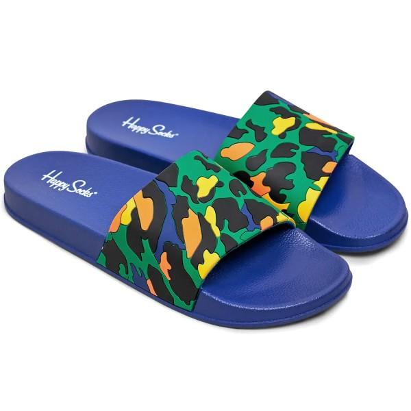 Happy Socks Pool Slider Leopard Unisex Badesandalen dunkelblau/mehrfarbig