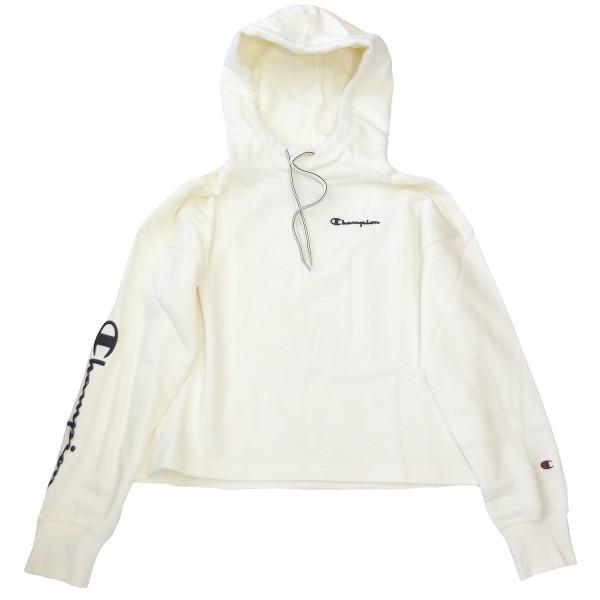 Champion Hooded Crop Top Damen Hoodie-Sweathshirt creme (offwhite)