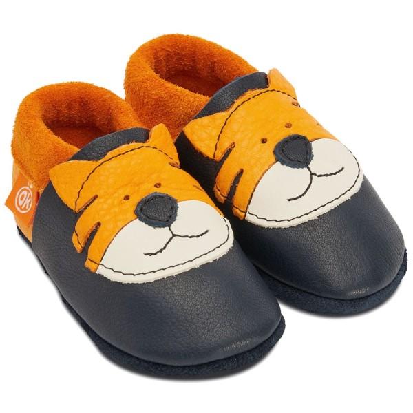 Orangenkinder Tiger Tom Kleinkinder Krabbelschuhe Dunkelblau/Orange