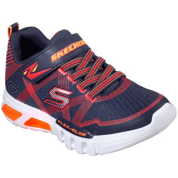 Skechers S Lights Flex-Glow Jungen Leucht Sneaker dunkelblau/rot (navy/red)