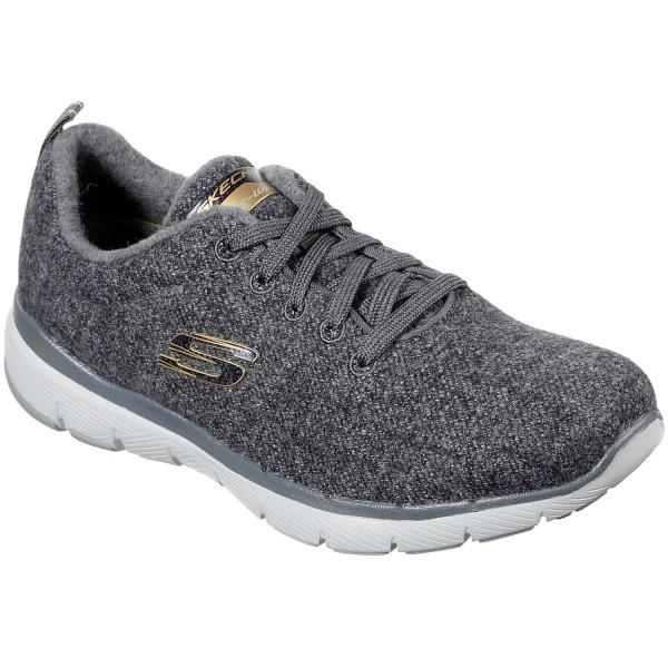 Skechers Wash A Wool Flex Appeal Plush Joy Women Walking Sneaker charcoal