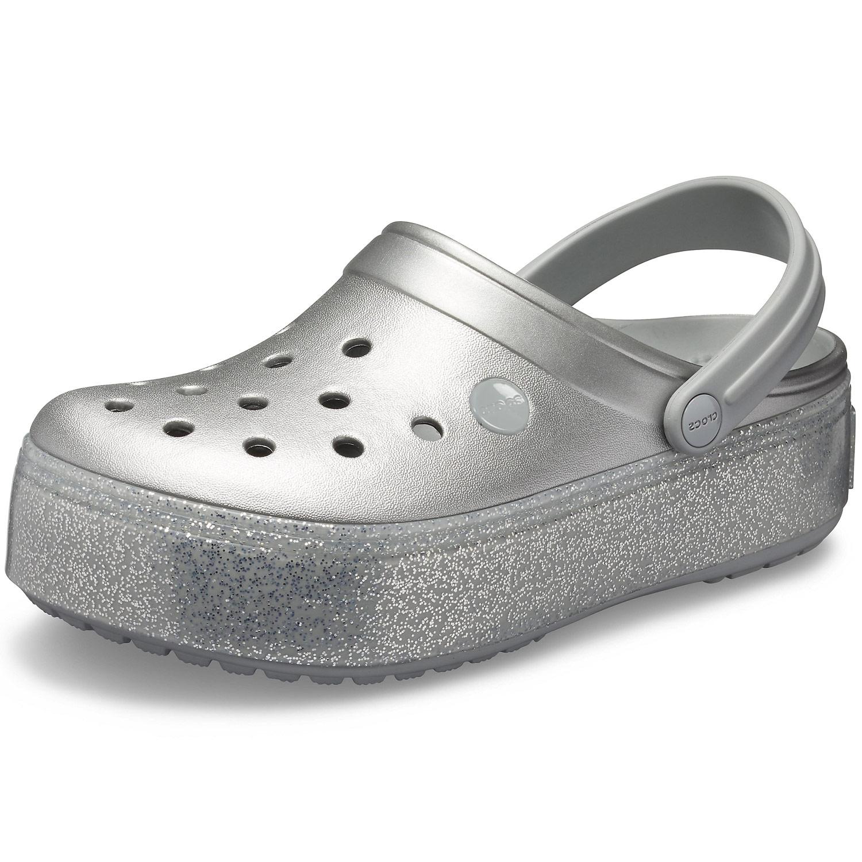 newest be512 b867b Crocs Crocband Platform Metallic Women Clogs metallic silver