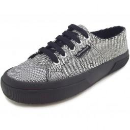 Superga 2750 Plisselamew Damen Sneaker silber/schwarz (grey silver)