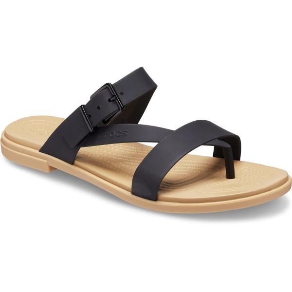 Crocs Tulum Toe Post Sandal Damen Zehenstegsandale schwarz (black/tan)