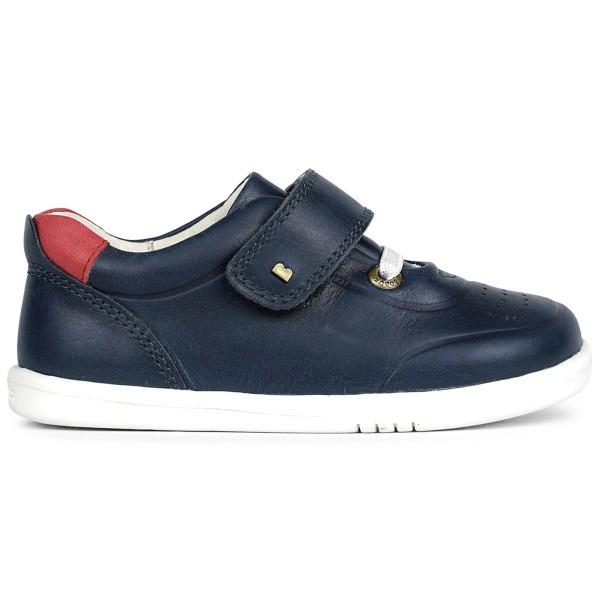 Bobux I-Walk Ryder Kleinkinder Leder Sneaker Dunkelblau (Navy/Red)