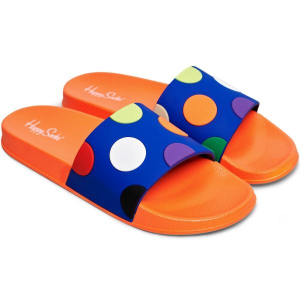 Happy Socks Pool Slider Big Dot Unisex Badesandalen Orange/Blau/Mehrfarbig