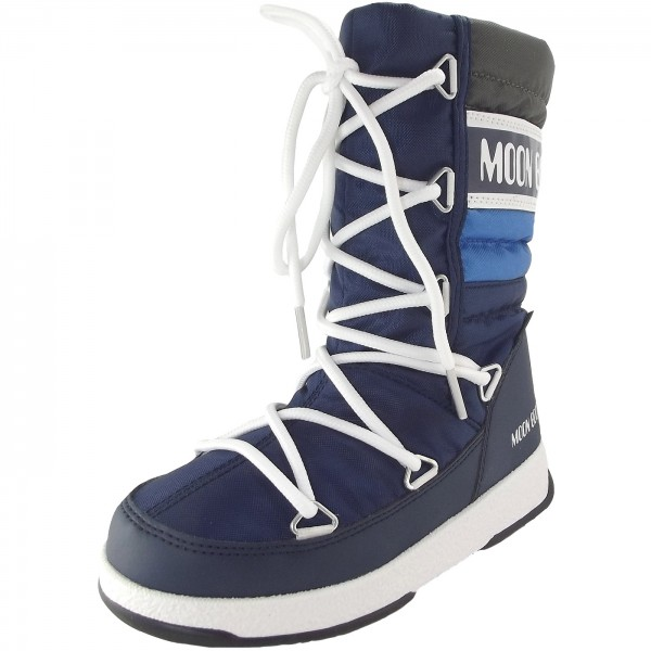 Moon Boot WE Quilted Jr WP Kinder Winterstiefel navy/royal/silber