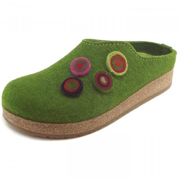 Haflinger Grizzly Kanon Damen Pantoffeln grasgrün