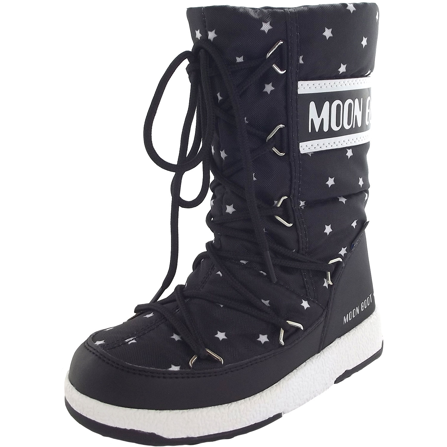 the latest fa85b 3e601 Moon Boot Jr Girl Quilted Star WP Girl Winter Boots black/white