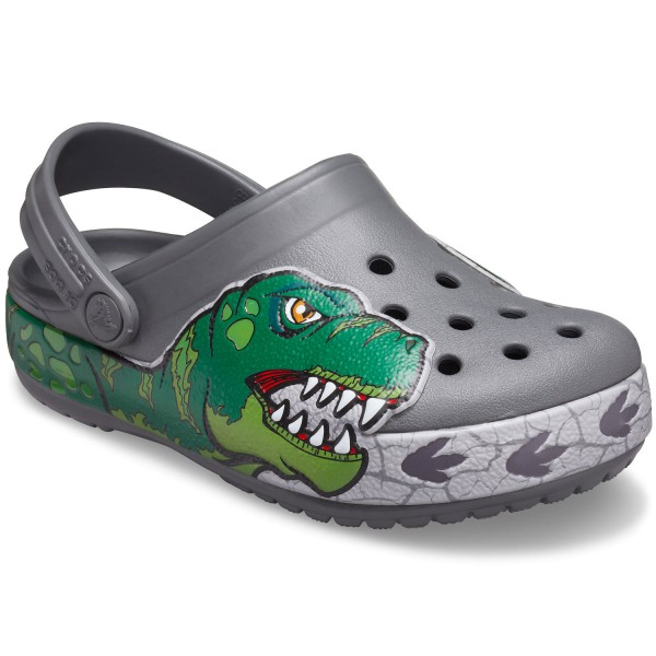 Crocs Fun Lab Dino Band Lights Kinder Clogs grau (slate grey)