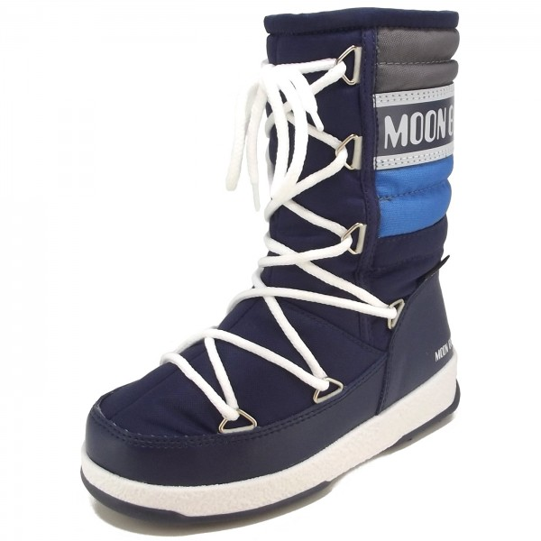 66704a9930f7 Moon Boot by Tecnica W.E. Quilted Jr WP Kinder Winterstiefel  navy royal silber