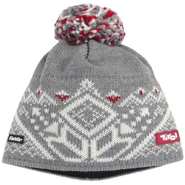 Eisbär Zams Pompon Tirol Unisex Winter-Strickmütze Graumeliert/Weiß/Rot