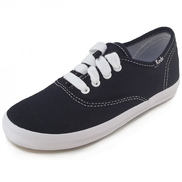 Keds Champion Canvas Girls Sneaker schwarz/weiß (black/white)