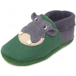 Pololo Hippo Kleinkinder Krabbelschuhe grün/grau (graphit tabaluga)
