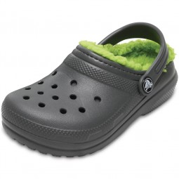 Crocs Classic Lined Kids Kinder Clogs grau/grün (slate grey/volt green)