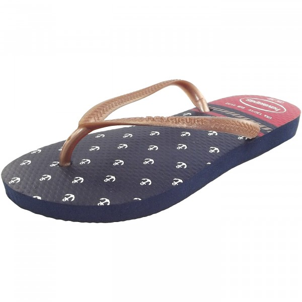 Havaianas Kids Slim Nautical Mädchen Zehenstegsandale dunkelblau/rot (navy/red)