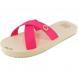 flip*flop Originals Cross Matt Damen Pantolette beige/pink (neon pink)