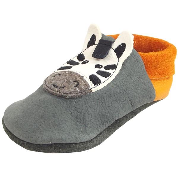 Pololo Zebra Kleinkinder Krabbelschuhe grau/orange (granit mango)