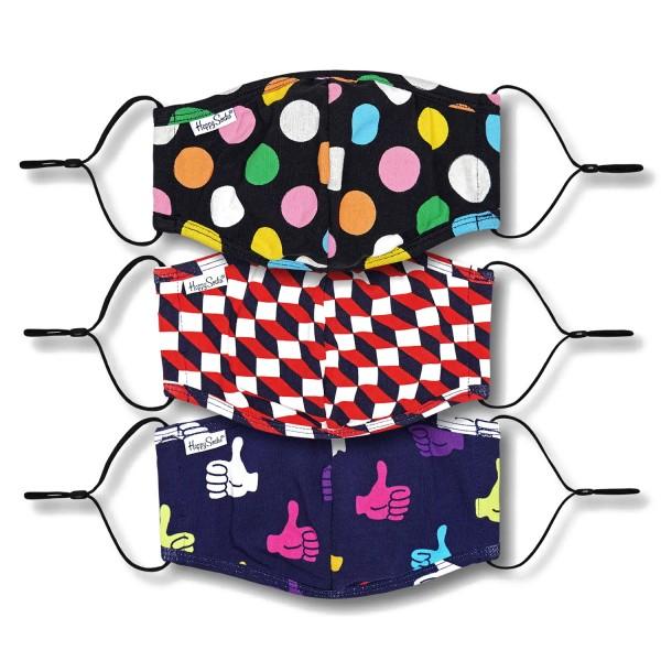 Happy Socks Mixed Face Cover 3-Pack Unisex Gesichtsmasken Mehrfarbig