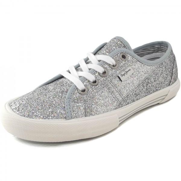 reputable site 8d9dc e747c Pepe Jeans Aberlady Flash Damen Sneakers silber (silver)