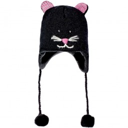 Knitwits by deLux Kiki the Kitty Kids Kinder Strickmütze schwarz (black)