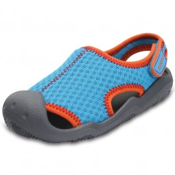 Crocs Swiftwater Sandal Kids Kinder Aqua-Schuhe cerulean blue/smoke