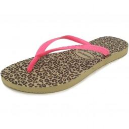 Havaianas Slim Animals Damen Zehenstegsandale mehrfarbig (sand grey/pink)