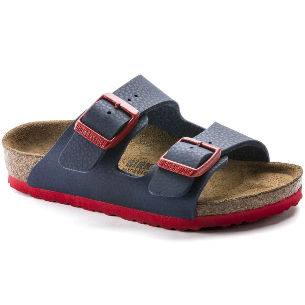 Birkenstock Arizona Kids Kinder Pantolette Blau (Desert Soil Blue Red)