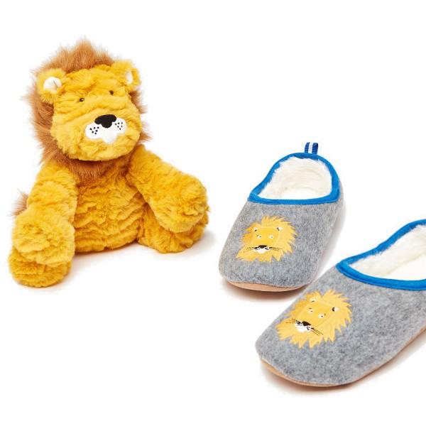 Tom Joule Hausschuh und Stofftier Kinder Geschenkset Grey Lion