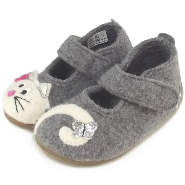 Living Kitzbühel 2402 Katze Mädchen Hausschuhe grau