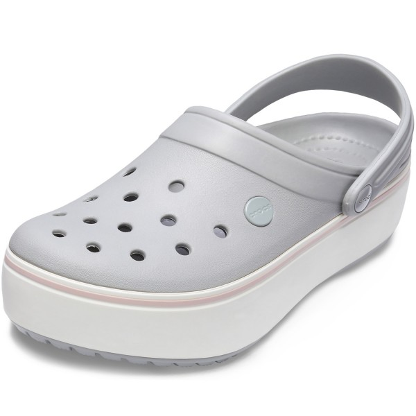 online store 7e8ec 3c155 Crocs Crocband Platform Damen Clogs hellgrau/rosa (light grey/rose)