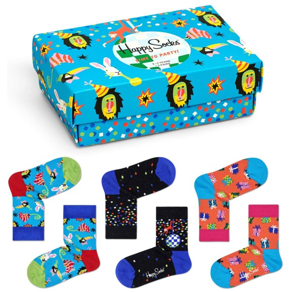 Happy Socks Kids Party Animal Gift Box 3-Pack Kinder Geschenk-Socken mehrfarbig
